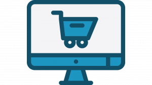 i mac with an image of a shopping trolley